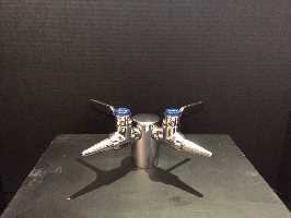 This is how a 2-jet gas fixture with jets at 90 degrees looks when it is counter-mounted.